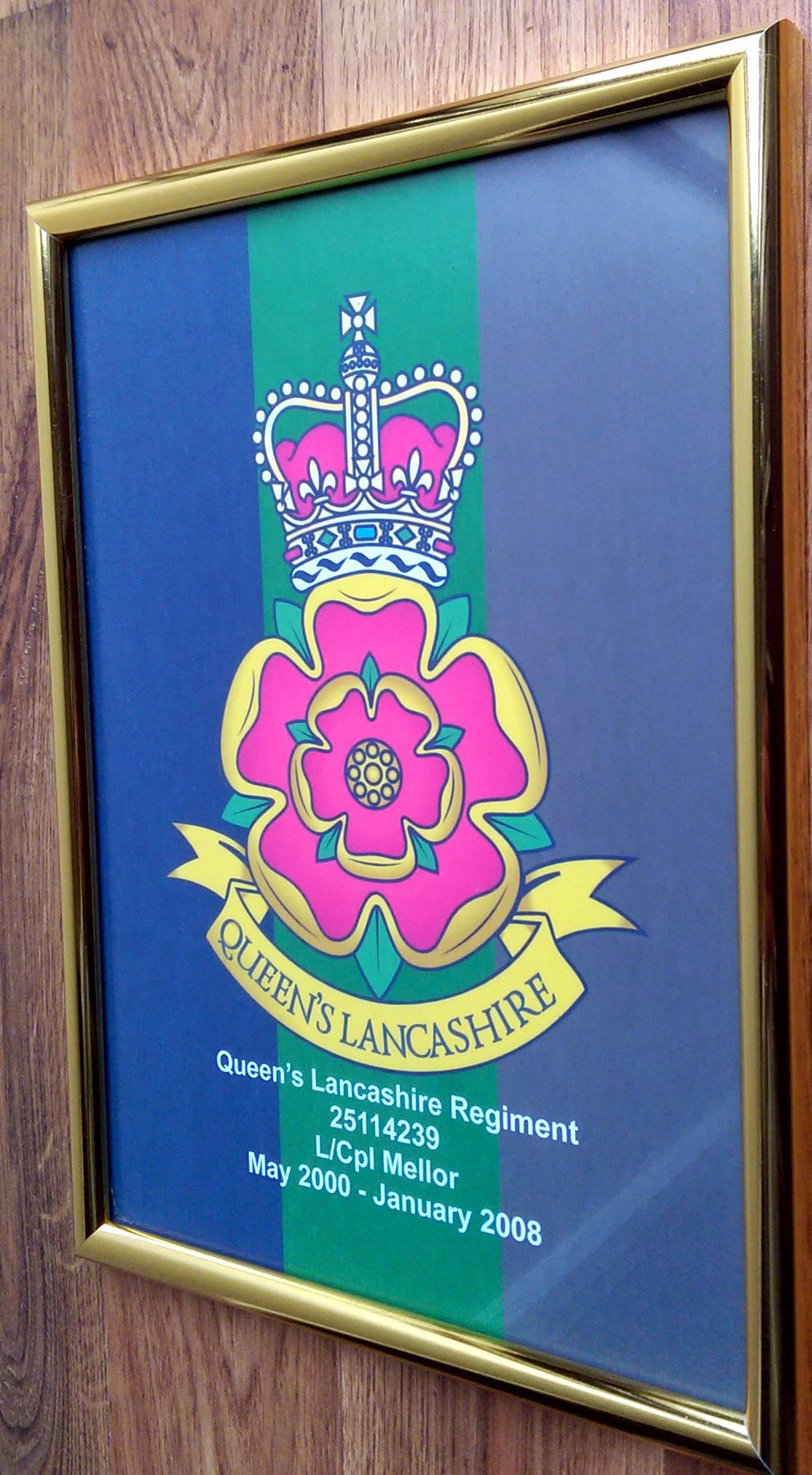 QLR Framed Logo With Regiment Number & Dates